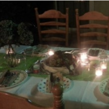 potluck table setting with candles