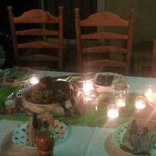 potluck table setting w candles