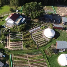 Aerial view of farm with vegetable gardens and pasture using Regenerative Agriculture and Permaculture Design